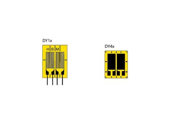 DY – тензорезисторы - с двумя измерительными решётками, расположенными параллельно друг к другу. Двойные тензорезисторы DY1 и DY4...