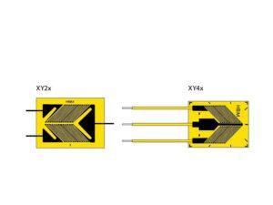 XY2 и XY4 тензорезисторы кручения-сдвига - представляют собойV-образный тензорезисторс 2 измерительными решётками...